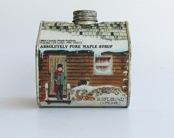 Maple Syrup Log Cabin Tin