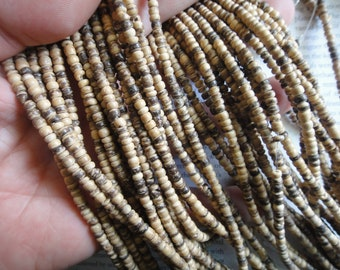 4mm tumbled coconut heishi beads, 15.5 inch