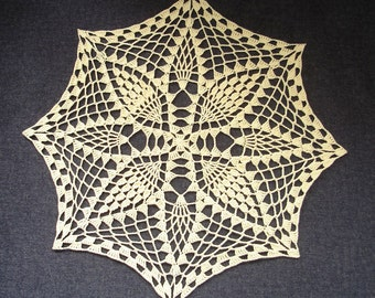 """New Handmade Crocheted """"Recipe for Repose"""" Doily in Maize - 14"""""""
