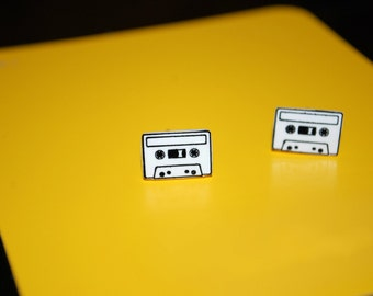 Cassette Tape Earrings -- Studs, 80s Earrings, Cassette Tape Studs, Black and White Cassette Tapes