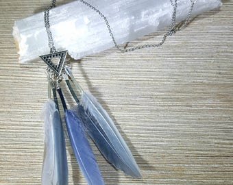 Grey Blue Feather Silver Charm Pendant Necklace Boho Jewelry