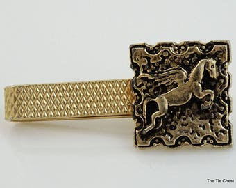 Vintage Winged Horse Tie Bar Clip Gold Tone 1.5""