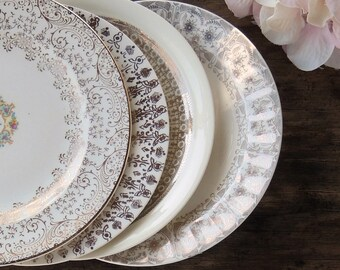 Mismatched Vintage Plates for Wedding Set of 4 Dessert Plates Bread and Butter Bridesmaid Luncheon, Tea Party Ca 1940s