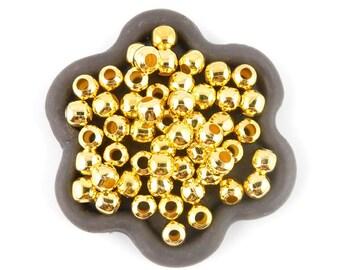 x 100 5mm round Golden (94 c) metal bead