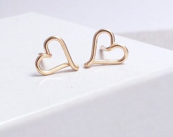 Gold Heart Stud Earrings |14kt Gold Filled  | Tiny Stud Earrings | Gold Heart Earrings | Minimal Earrings | Bridesmaid Gifts | Jewellery UK