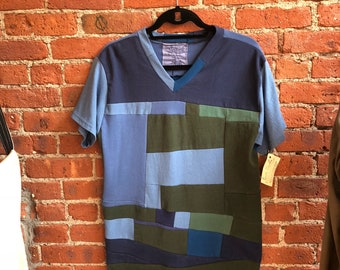 Patchwork mens cotton v neck- one of a kind- color block- upcycled- eco clothing- repurposed cotton- art to wear- mens medium- blue green