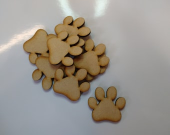 wooden crafts shapes, dog cat paws, embellishments. decoupage, scrapbooking