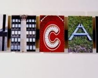 Letter Name Art 9 Letter Custom Words Using Chicago Letter Photos