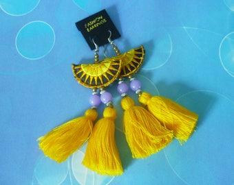 Tribal earring yellow Tassel earrings - thread tassel -tassel beaded earrings -Hill tribe earrings -party earrings -women accessories