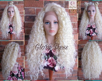 READY To SHIP // Long Beach Curly Lace Front Wig, 100% Brazilian Human Hair Blend, Free Parting, Platinum Blonde Wig //QUEEN