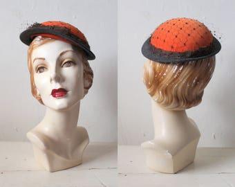 Vintage 1950s Orange & Brown Velvet Hat / 50s Tilt Hat with Netting and Bow / Clove Hat