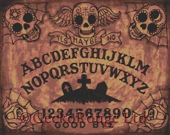 Ouija Board Cross Stitch, Shayne of the Dead  Art, 'Day of the Dead Ouija Board' - Needlecraft kit, Ouija Board Art, Cross-Stitch Pattern