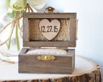 wood ring box, personalized engagement ring box, burlap ring bearer pillow alternative