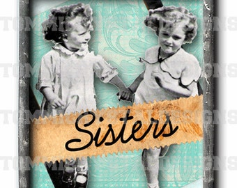 """1"""" X 1.25"""" Sisters Memories Soldered Art Collage Charm"""
