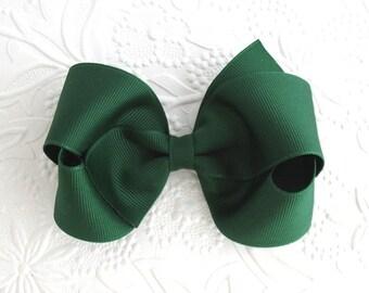Forest Green Girls Hair Bow, Christmas Hair Bow, Toddler Grosgrain Boutique Hair Bow Clip