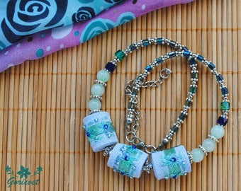 Embroidered necklace floral jewelry bib necklace jade jewelry blue green gemstone necklace birthday gift for women graduation gift for girl