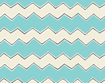 By The HALF YARD - Playground by Vita Mechachonis for Camelot, Pattern #1140604-03 Zig Zags Aqua Blue, Cream and Black Chevron