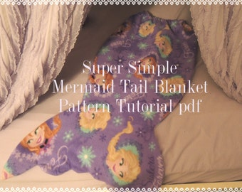Super Simple Mermaid Tail Blanket Pattern and Tutorial, 2 Sizes, pdf, Instant Download, Snuggle Up