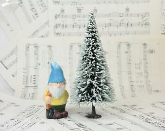 "8"" Snowy Bottle Brush Tree - Set of 1 miniature doll house tree miniature tree fairy garden diorama mini tree - 106-081A"