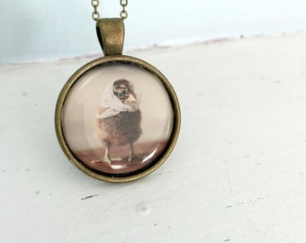 Baby Animal Pendant Necklace of A Chicken Wearing A White Lace Kerchief Chicks in Hats Jewelry