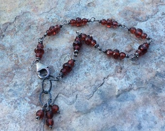 Garnet bracelet, Garnet jewelry, handmade bracelet, red gemstone bracelet, artisan jewelry, January birthstone, stacking bracelet