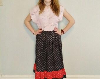 Vintage midi hippie boho gypsy skirt. size small / medium