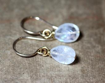 Rainbow Moonstone Earrings Faceted Teardrop Gemstone Dangle Earrings