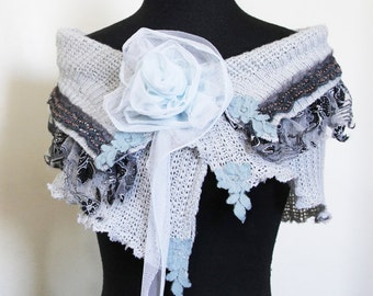 upcycled shawl S - M upcycled clothing, upcycled fashion, wearable art, shrug, shawl, capelet . blue october