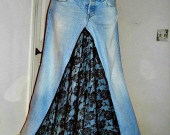 Belle Bohémienne exquisite vintage black rose lace Renaissance Denim Couture bohemian ballroom jean skirt Made to Order