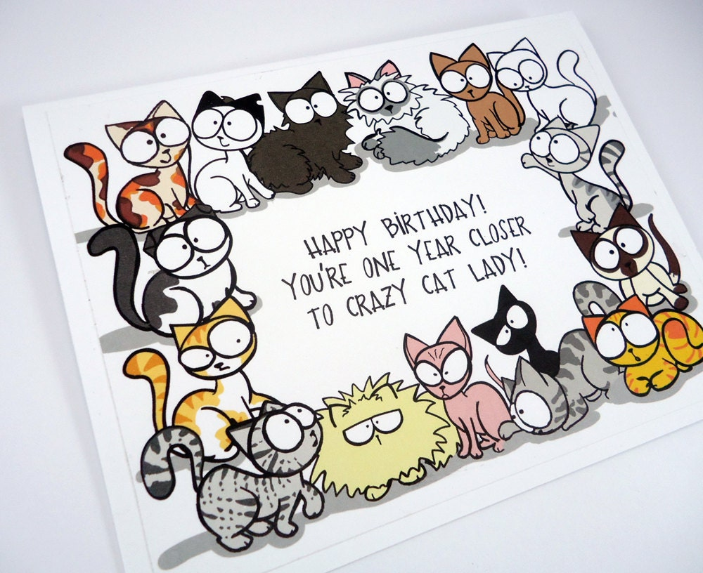 Crazy Cat Lady Birthday Card Funny Lover Etsy