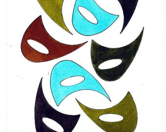 """Original Mid Century Atomic Style Ink and Watercolor Art - Boomerangs - Blue/Turquoise/Gray/Brown 6"""" x 9"""""""