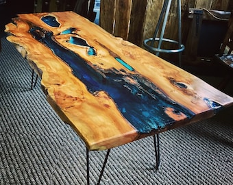 Handmade Azure Glass Resin Coffee Table in Yew.