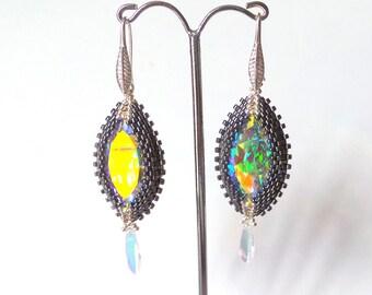 Boucles d'oreille cristal, marquise
