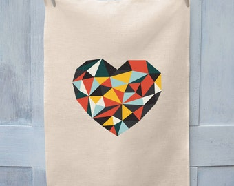 Love Heart Crystal Colours - Linen Tea Towel