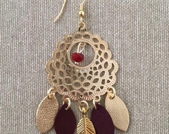 Boho Chic Earring: Gold late and Bordeaux leather
