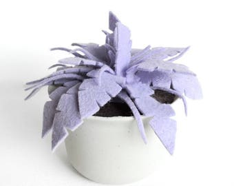Purple Felt Fern in Plastic Pot· Potted Plant· House Plant· Kid Friendly· Felt Plant· Desk Plant· Fake Plant· Housewarming· Felt Succulent