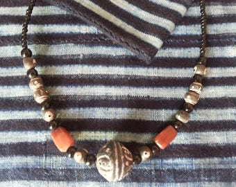 African beads necklace, Ethnic necklace, Bohemian necklace, African glass beads, clay beads, Ghana beads, Mali beads
