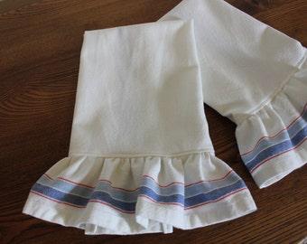 Ruffled Striped Cotton Tea Towel - Blueberry