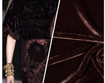 Designer Silk Rayon Velvet Fabric - Chocolate - Sold By The Yard