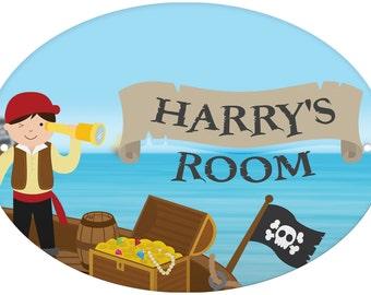 Personalised Pirates Door Plaque treasure gift idea kids birthday xmas