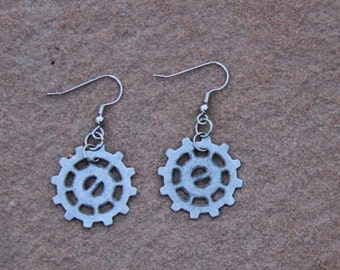 Small Bike Gear Earrings in Silver-Could be Steampunk or Vintage