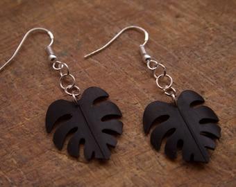 Jungle leaf bicycle inner tube earrings