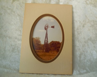 Windmill Picture, Vintage Windmill Photo with Matting