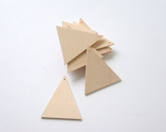 Triangle from Unfinished Wood. Laser Cut Triangle with Hole. Wooden Earrings Pendant #AUSK005
