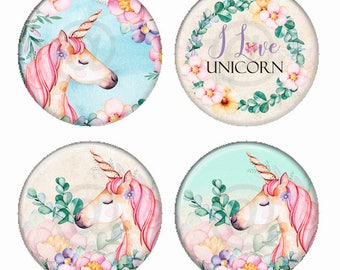 I Love Unicorns Magnets or Pinback Buttons or Flatback Medallions