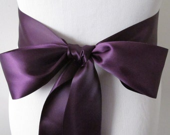 Eggplant Ribbon Sash / Double Faced Ribbon Sash / Bridal Sash  /Bridal  / Eggplant
