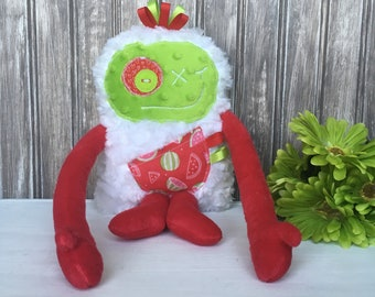 Hug Monster with ribbons, handmade plush, red and green with watermelon print pocket,  baby shower gift or birthday gift, ready to go.