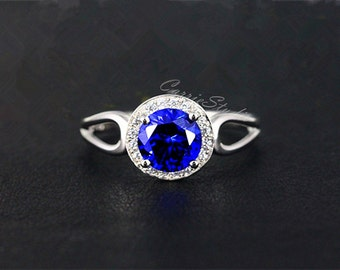 Blue Sapphire Ring Sapphire Engagement Ring/ Wedding Ring 925 Sterling Silver Ring Anniversary Ring Promise Ring