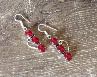 Handmade Silver Carnelian Drop Earrings