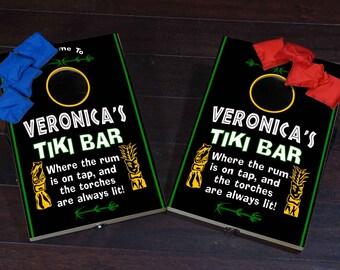 Mini Bean Bag Toss / Corn Hole Game- Tiki Bar Design (BLCORN16)